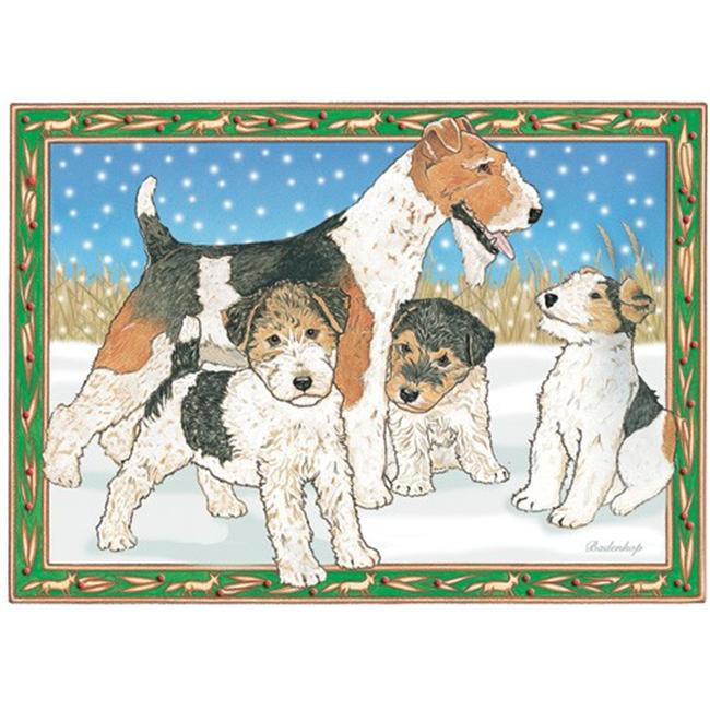 Pipsqueak Productions C857 Holiday Boxed Cards- Fox Terrier Wire