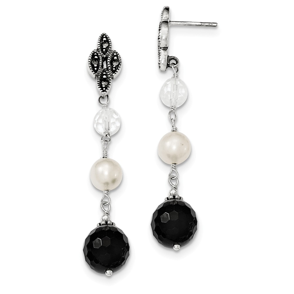 Sterling Silver Freshwater Cultured Pearl & Onyx & Crystal Dangle Post Earrings (1.4IN x 0.3IN )