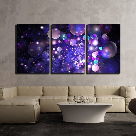 Bubbles Wall Art - wall26 - 3 Piece Canvas Wall Art - Abstract Glowing Purple and Blue Bubbles on Black Background. Fractal Art - Modern Home Decor Stretched and Framed Ready to Hang - 24