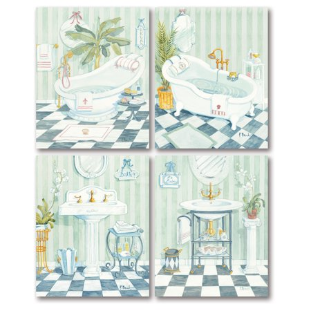 Gango Home Decor Classic Tub and Sink Bathroom Wall Art by Paul Brent; Four Blue 8x10in Unframed Paper Prints (Paper Only, No Frame) ()