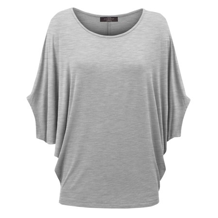 MBJ WT1073 Womens Scoop Neck Half Sleeve Batwing Dolman Top M HEATHER_GREY