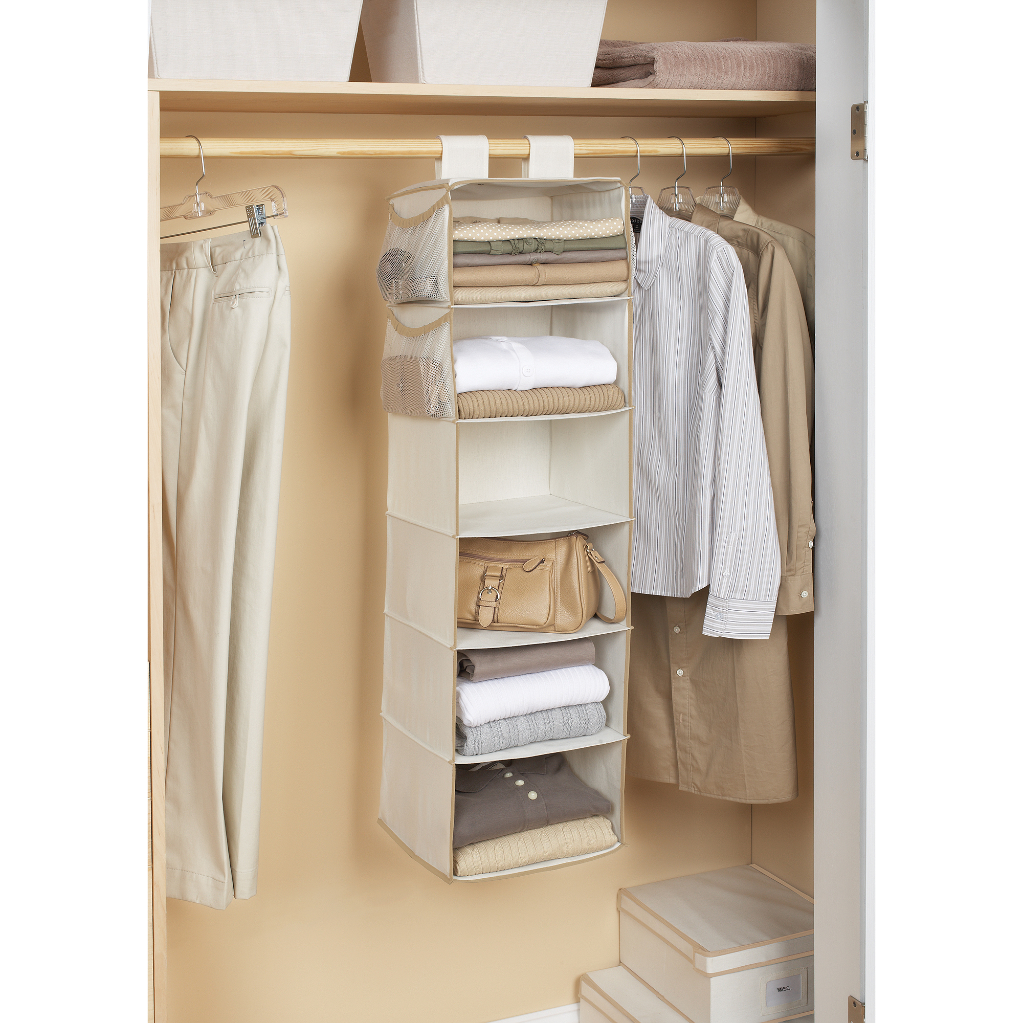 Mainstays Canvas 6-Shelf Organizer, Brownstone Trim