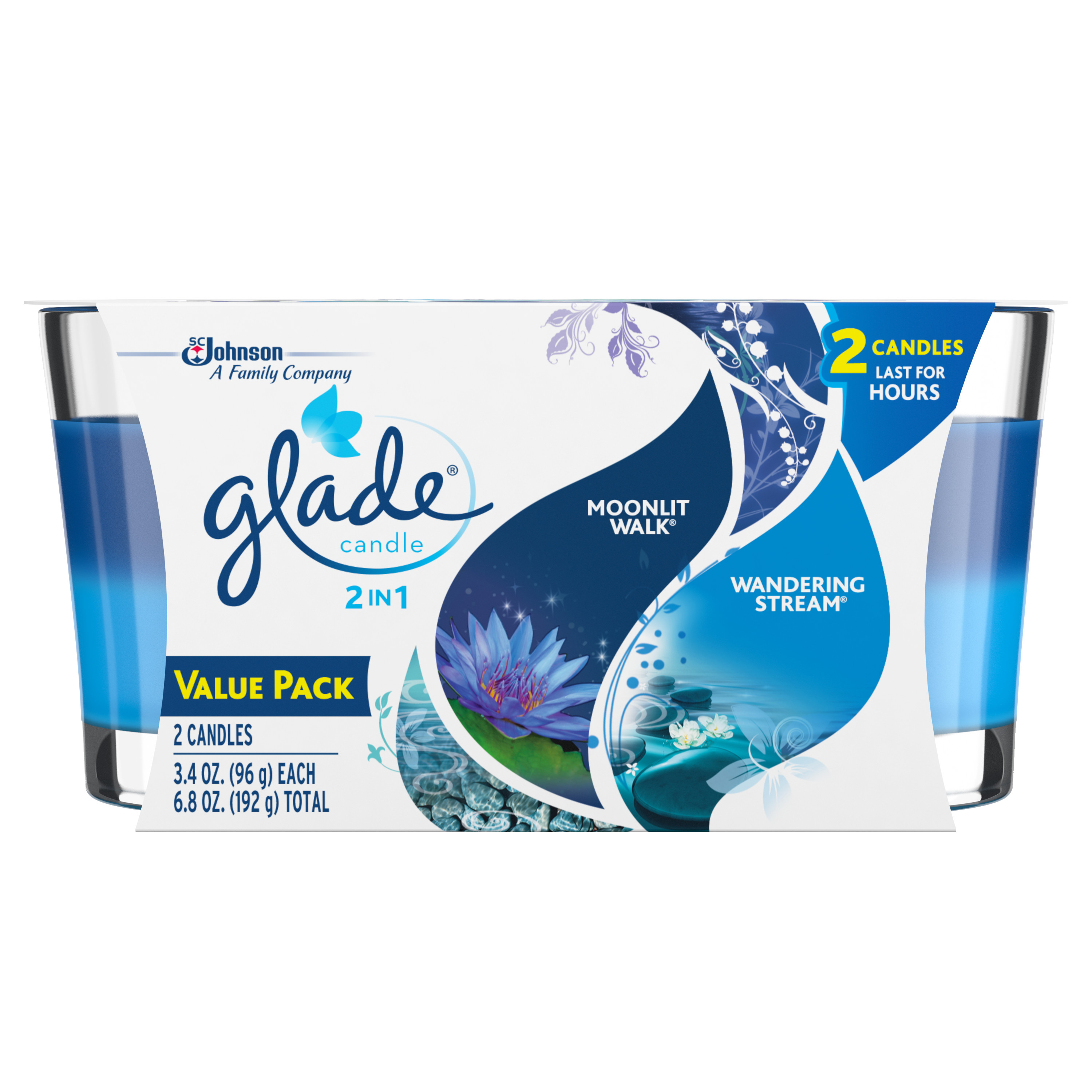 Glade Candle, 2 in 1: Moonlit Walk & Wandering Stream, 3.4 oz. (Pack of 2)