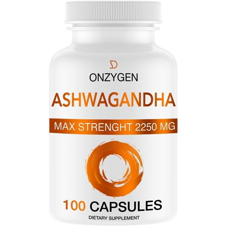 Ashwagandha - 100 Capsules 2250MG - Organic Ashwagandha Root Powder Extract - Anxiety Relief -Stress Relief - Mood Enhancer - Cortisol & Adrenal Support - Adrenal Fatigue - Thyroid Support Supplements ()