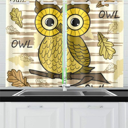 Peace Owl - MKHERT Cute Owl Window Curtain Kitchen Curtain 26x39 inch,Two Piece