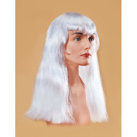 Star Power Long Straight Woman Witch With Bangs Wig, White, One Size - White Short Wig