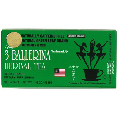 Dieters Tea Bags (3 Ballerina Herbal Tea Men And Women Dieters' Drink Extra Strength 18 Tea Bags)