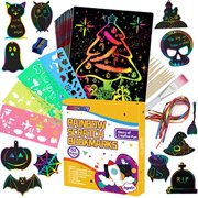 AONOKOY Scratch Paper Art Set?90 Pcs Rainbow Magic Scratch Off Paper Art Craft for Kids Black Scratch Notes Boards Sheet for Halloween Party Supplies Easter Party Game Christmas Birthday Gift