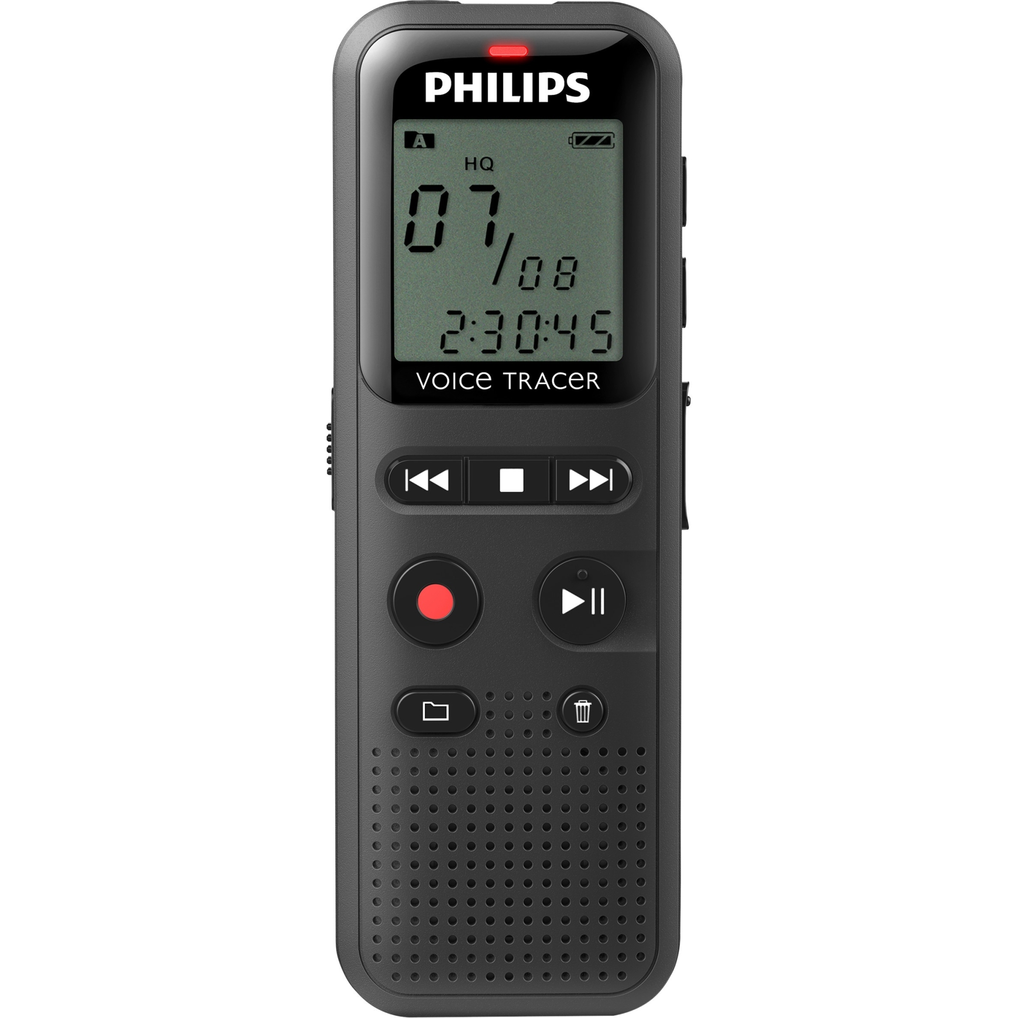 "Philips Voice Tracer Audio Recorder (DVT1150) - 4 GB - 1.3"" LCD - WAV - Headphone - 295 HourspeaceRecording Time - Portable"
