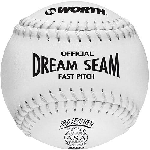 "Worth Pro Leather Official Dream Seam ASA Fastpitch Softball-12"" White - 1 Dozen"