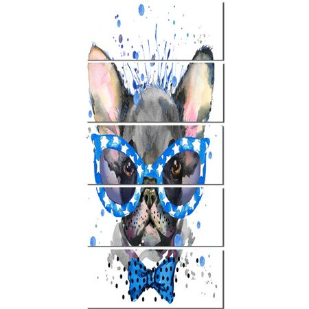 Design Art 'Cute French Bulldog with Glasses' 5 Piece Painting Print on Wrapped Canvas