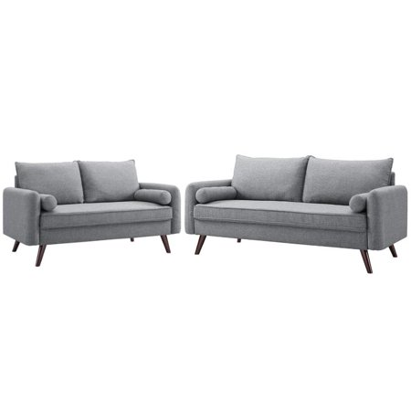 Mid Century Modern 2 Piece Sofa and Loveseat Set in Gray ()