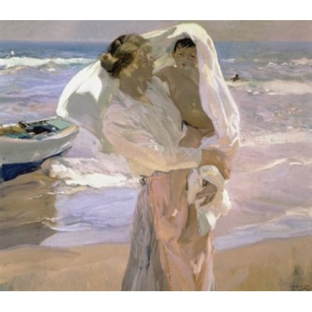 After the Bath  Joaquin Sorolla y Bastida (1863-1923Spanish)  Sorolla Museum Valencia Spain Stretched Canvas - Joaquin Sorolla y Bastida (24 x 36) (Valencia Bath Light)