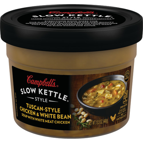 Campbell's Slow Kettle Style Tuscan-Style Chicken & White Bean Soup with White Meat Chicken, 15.5 oz.