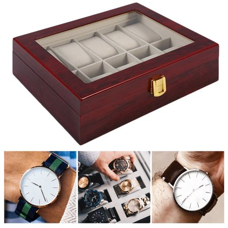 Practical 10 Grids Wooden Watch Box Jewelry Display Collection Storage Case - image 7 de 11