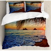 Hawaiian Duvet Cover Set, Pacific Sunrise at Lanikai Beach Hawaii Colorful Sky Wavy Ocean Surface Scene, Decorative Bedding Set with Pillow Shams, Blue Brown, by Ambesonne