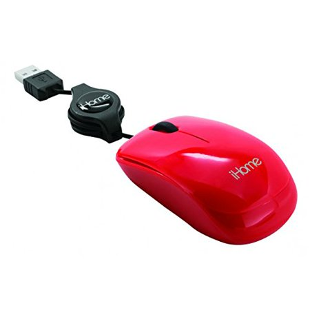 Lifeworks iHome Retractable USB Travel Mouse Red IH-M1000R