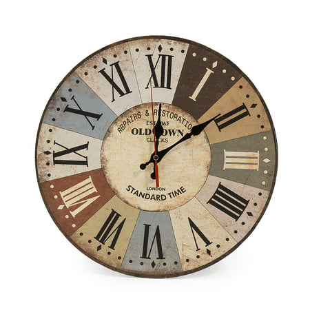 LOHAS Home 12 Inch Silent Vintage Design Wooden Round Wall Clock, Arabic Numerals,Vintage Rustic Shabby Chic Style,Wooden Round Home Decoration Wall Clock (Cafe & Flower)