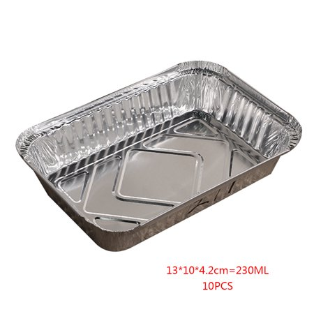 10pcs Rectangle Shaped Disposable Aluminum Foil Pan Take-out Food Containers with Aluminum Lids/Without Lid
