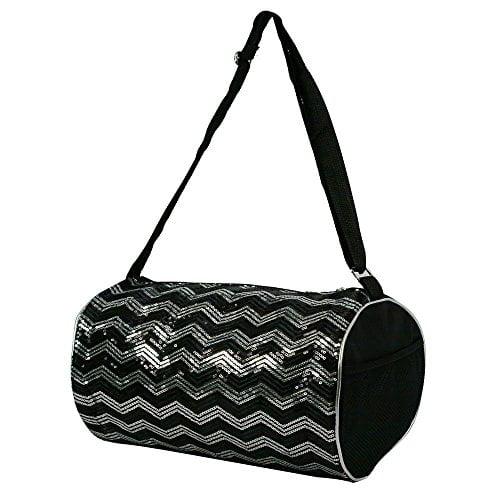 Kid's Girls Dance Chevron Wave Sequin Duffle Bag Gymnastics Cheer (Black) by 1 Perfect Choice