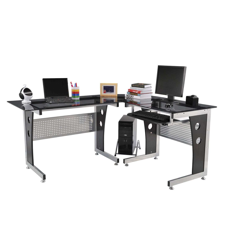 Homcom L Shaped Corner Computer Desk, L Shaped Desk Office Computer Glass Corner With Keyboard Tray Instructions