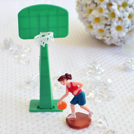 Basketball Player Girl Woman and Hoop Cake Topper Sports Team Party Decoration