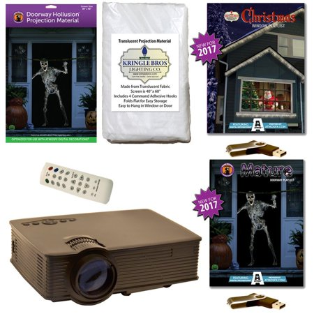AtmosFearFx Christmas & Halloween Digital Decoration Kit includes 800 x 480 Projector, Hollusion + Kringle Bros Projection Screens, Christmas & Mature Compilation Videos on USB. - Atmosfearfx Unliving Portraits Halloween Digital Decorations