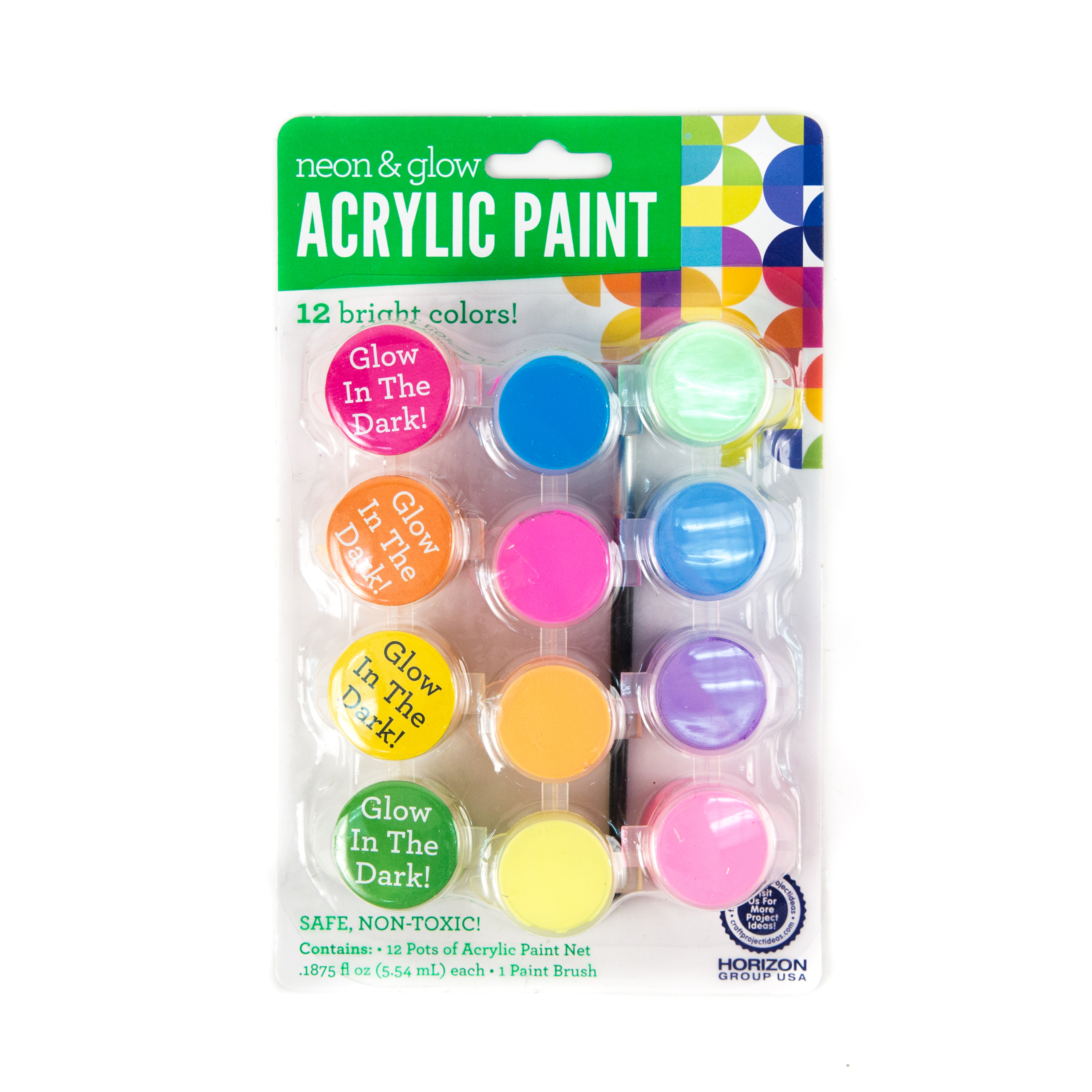 Acrylic Glow-In-the-Dark and Neon Paint, 12 Pots by Horizon Group USA