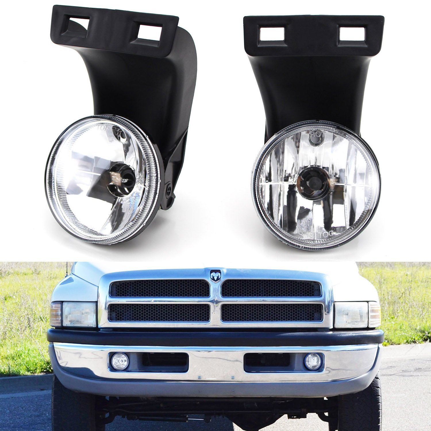 Ijdmtoy Complete Set Fog Lights Foglamps With 880 Halogen Bulbs For 2nd Gen 1994 2001 Dodge Ram 1500 1994 2002 Ram 2500 3500 Walmart Com Walmart Com