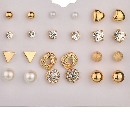 outdoorline 12 Pairs Rhinestone Geometric Shaped Women Girl Earrings Ear Studs Alloy Earrings Jewerly - image 7 de 9