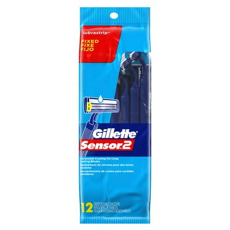 Gillette Sensor2 Men's Disposable Razors, 12