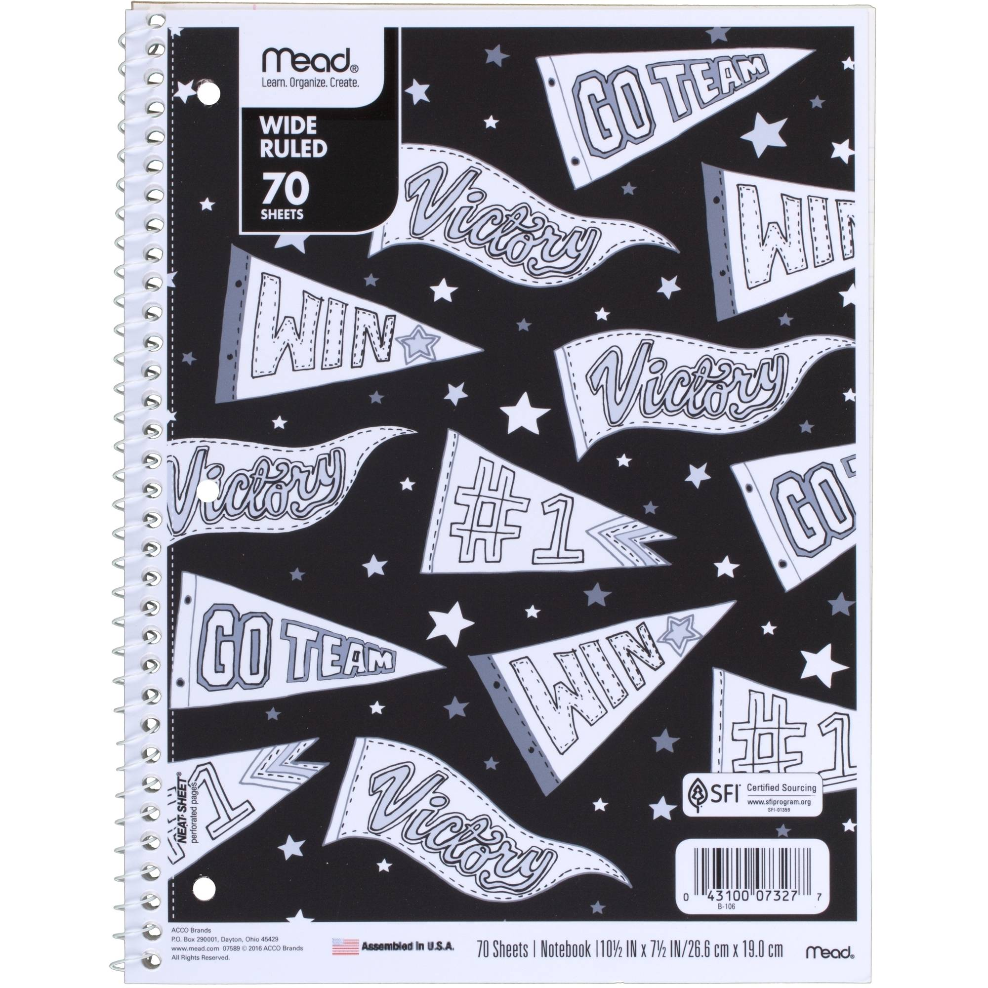 Mead Fashion 1-Subject Notebook, Wide Rule, 70 Sheets