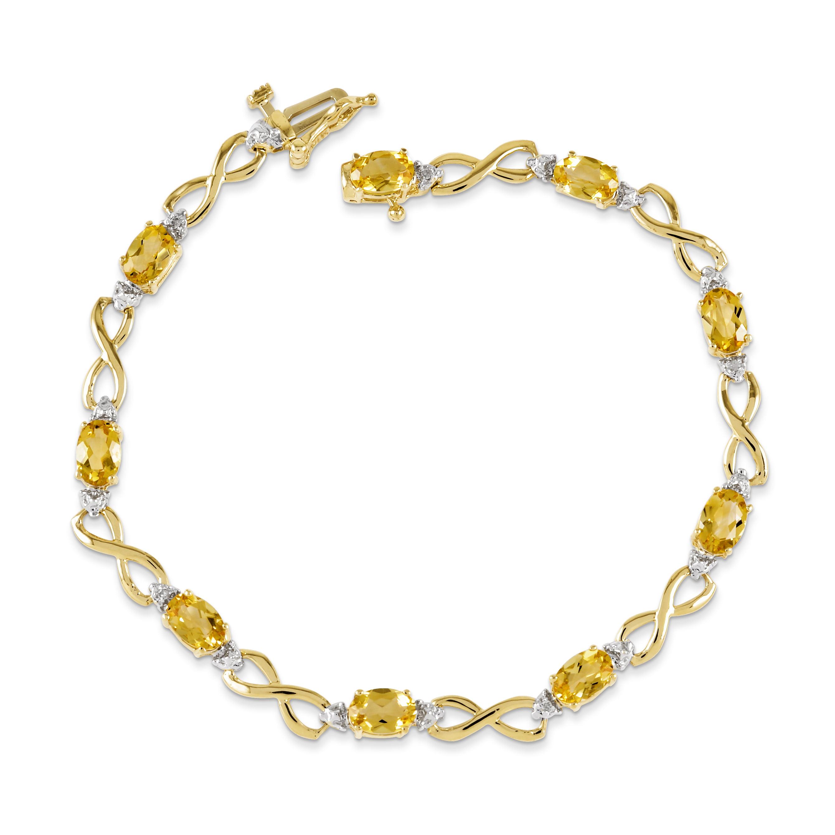 14k Yellow Gold Citrine Diamond Bracelet .03 dwt 6.00 cwt Box Clasp by Kevin Jewelers