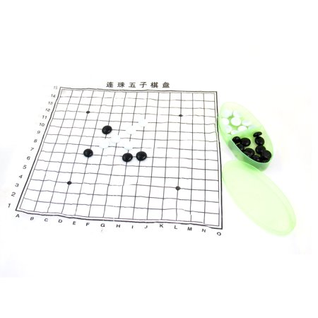 Black White Chess Pieces Five-in-a-row Game Gomoku Gobang Set w Oval Shaped Box