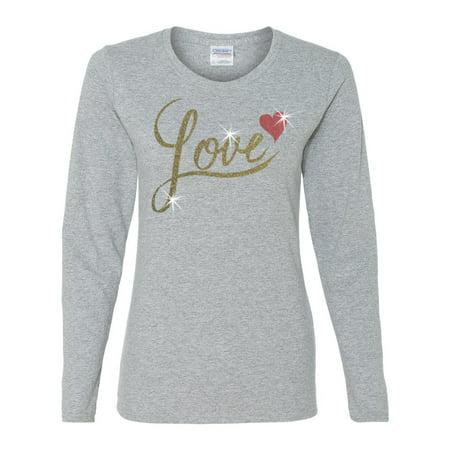 Valentine Gold Glitter Love Red Heart Womens Long Sleeve T - Shirt Top