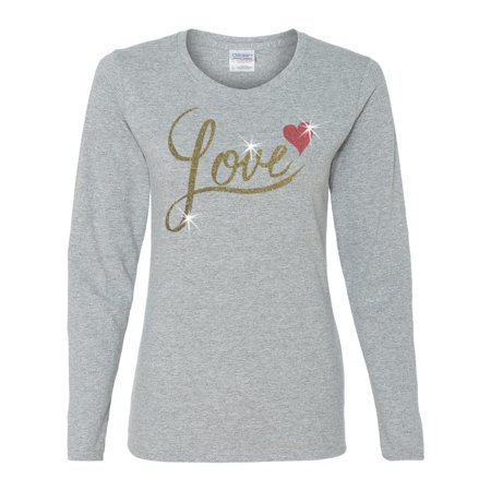 Valentine Gold Glitter Love Red Heart Womens Long Sleeve ()