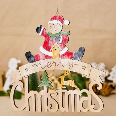 Painted Snowman (Home Decor Gift Painted Elk Snowman Xmas Alphabet House Doorplate Party Pendant )