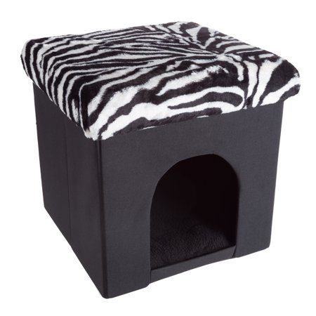 Petmaker Pet House Ottoman and Bed, Zebra Print