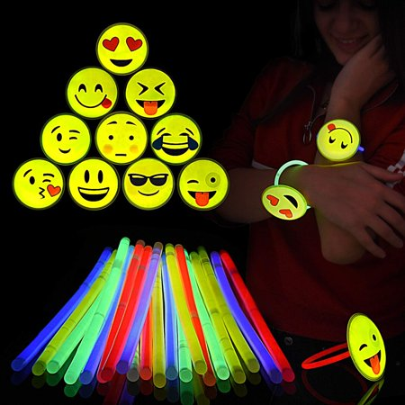 "Glow Sticks Emoji Bracelets – Pack of 20 Neon 8"" Glowsticks Wristbands, 10 Different Emojis – Glow in the Dark Party Favors – Ideal for Halloween & all Festive Occasions – With Connectors – Kids Fun! (Fun Kid Halloween Party Games)"