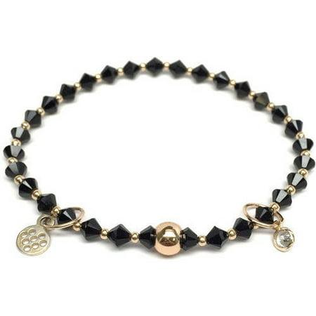 Black Swarovski Crystal Emily 14kt Gold over Sterling Silver Stretch Bracelet