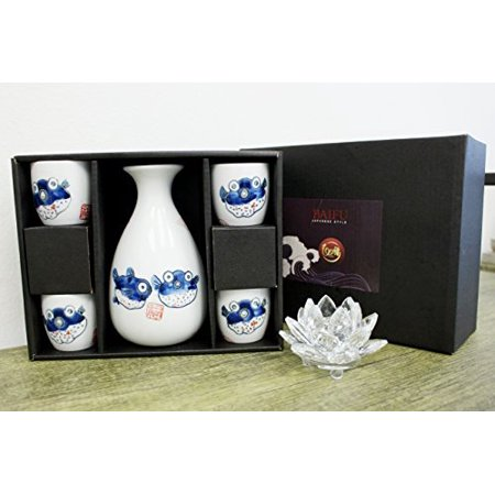 Traditional Porcelain Puffer Fish Sake Set 4 Cups 1 Decanter / Carafe / Sake Set / House warming / Gift / Birthday Gift / Japanese / Wine Glass / Kitchen -