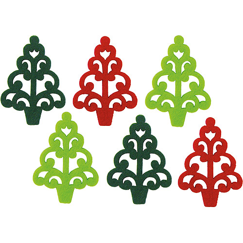 Dimensions Feltworks Laser Cut Trees, Green, Lime and Red, Set of 6 Multi-Colored