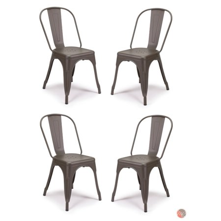 Set of 4 Tolix Style Metal Chairs, COOPER Matte Espresso, Vintage Style Sturdy/ Stack-able Chairs, Perfect for Dining Area, Bistro, Cafe, Restaurant, Patio Indoor and Outdoor Use ()