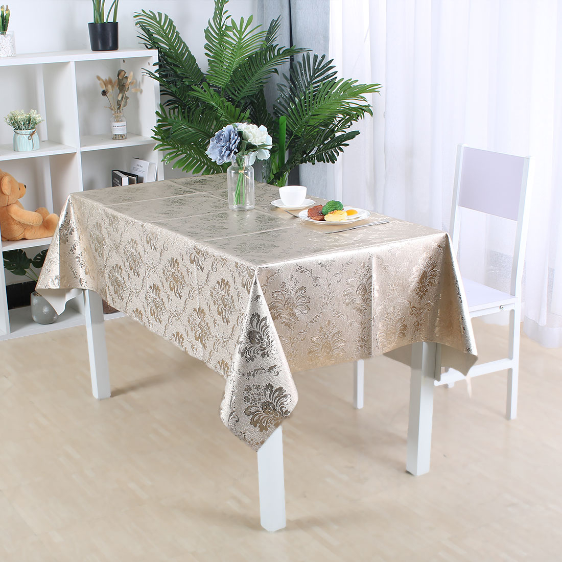 """Tablecloth PVC Vinyl Oil Stain Resistant Party Camping Table Cloth 54""""x54"""", #1 - image 2 de 7"""