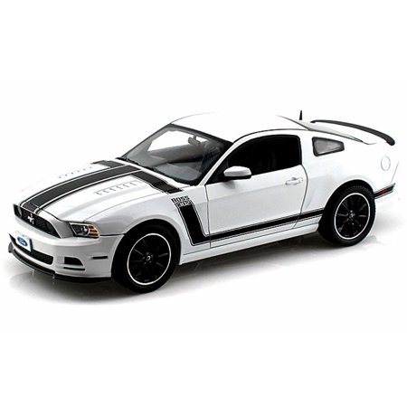 2013 Ford Mustang Boss 302, White w/ Black Stripes - Shelby  SC452 - 1/18 Scale Diecast Model Toy - Mustang Boss Stripes