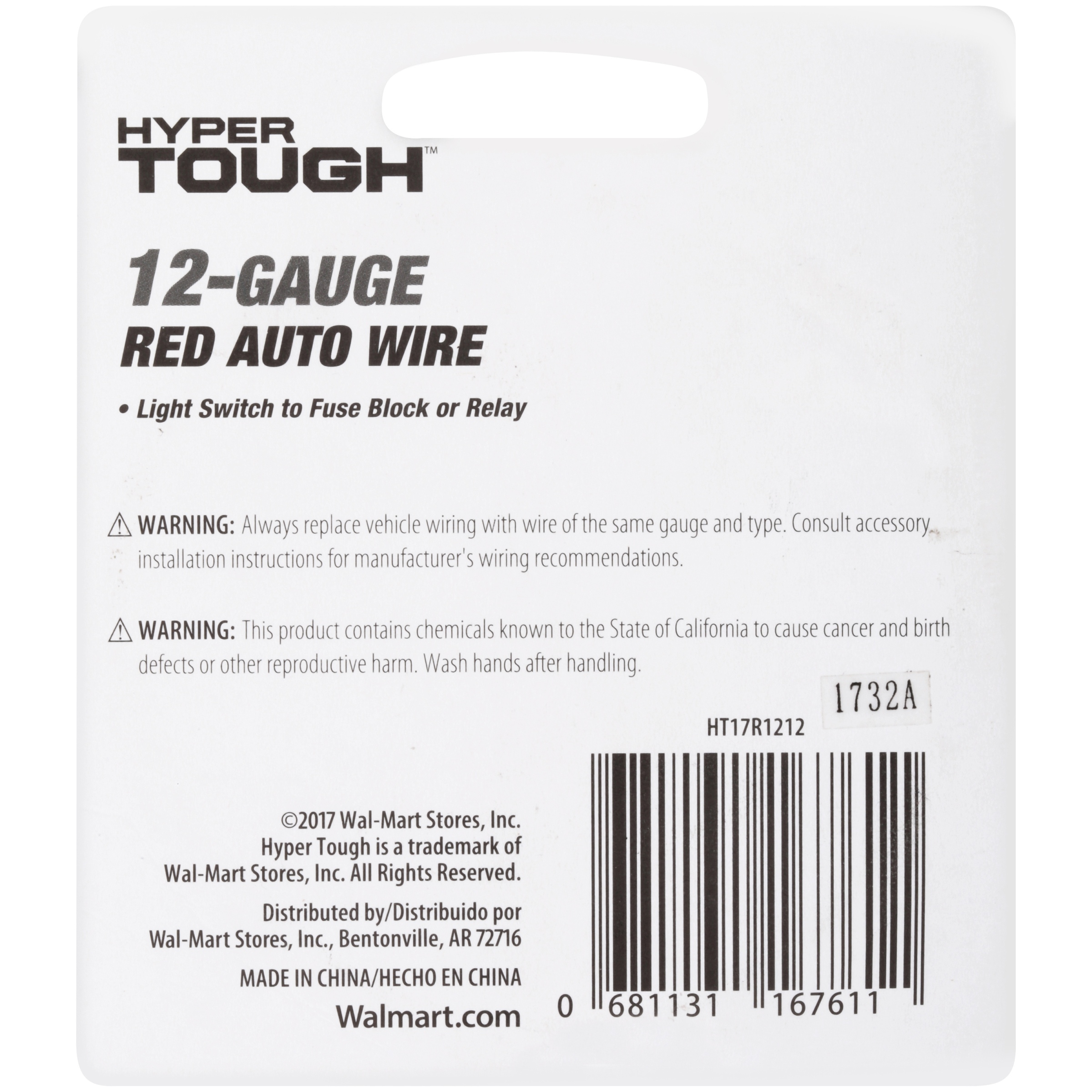 Awesome Hypertough Auto Wire 12 Gauge 12 Walmart Com Wiring Digital Resources Inamasemecshebarightsorg
