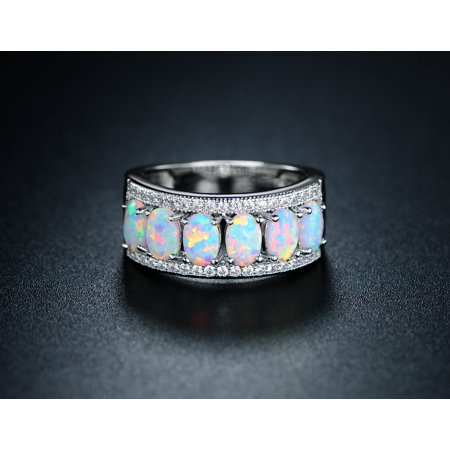 18K White Gold Plated Oval-Cut White Fire Opal Ring