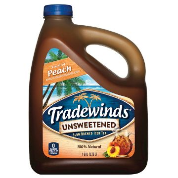 Tradewinds Slow Brewed Iced Tea, Unsweet Tea with Peach, 128 Fl Oz, 4 Count
