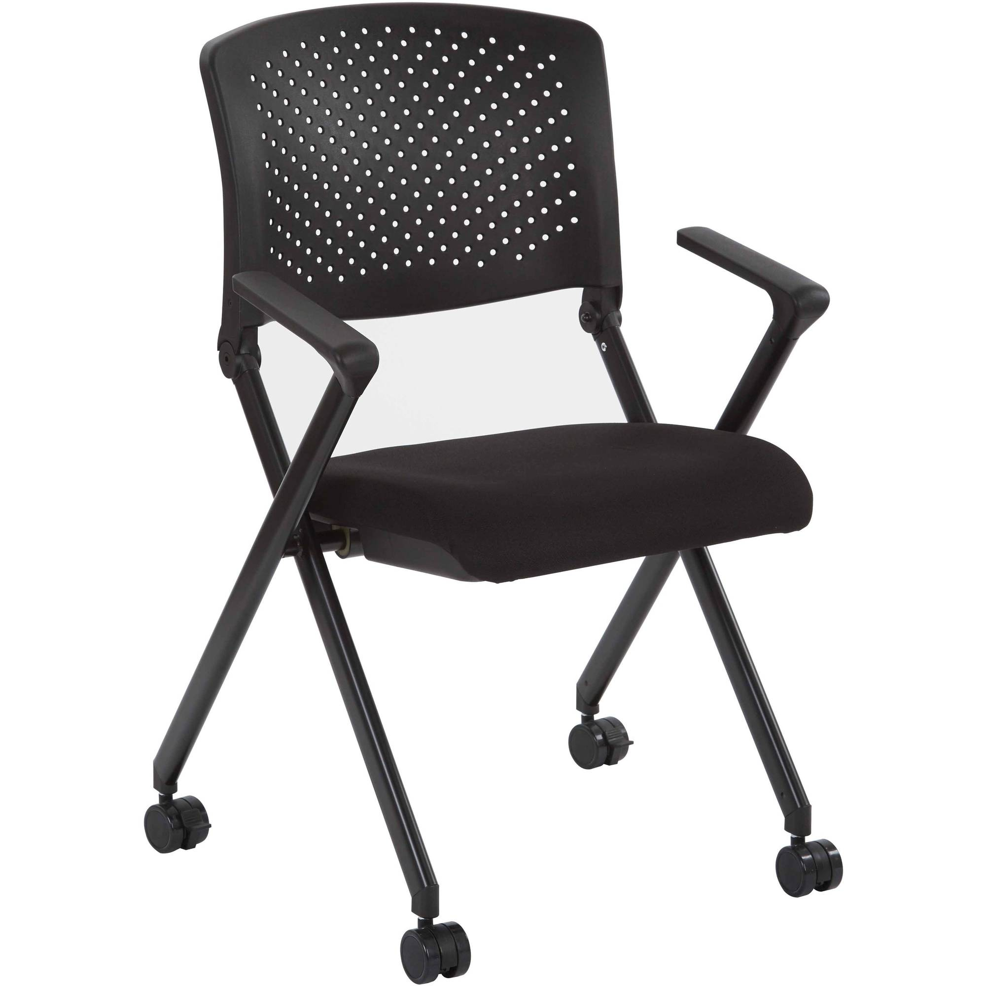 Nesting Chair with Breathable Plastic Mesh Back and Fabric Seat, Multiple Colors
