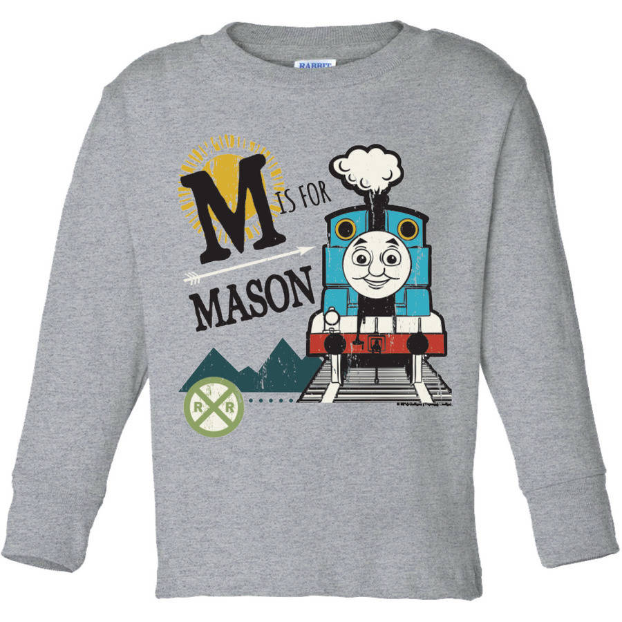 Personalized Thomas and Friends Gray Youth Long Sleeve Initial Tee